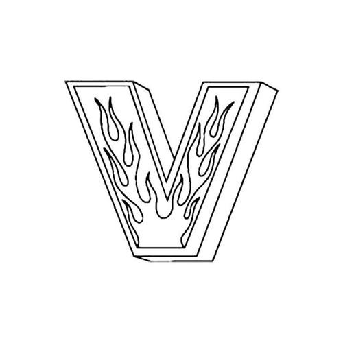 V Flames Letter S Decal