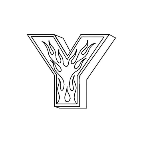 Y Flames Letter S Decal