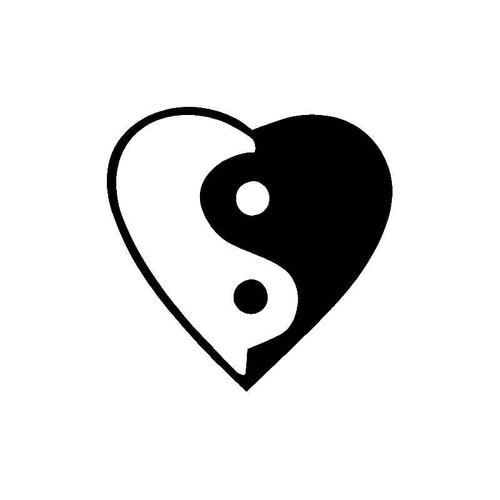 Yin And Yang In Heart Decal