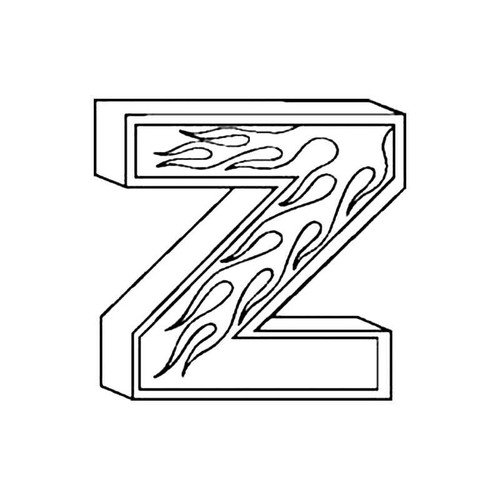 Z Flames Letter S Decal