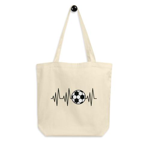Eco Tote Bag : Soccer Heartbeat