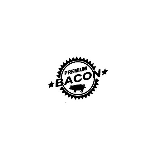 Premium Bacon Size option will determine the size from the longest side Industry standard high performance calendared vinyl film Cut from Oracle 651 2.5 mil Outdoor durability is 7 years Glossy surface finish