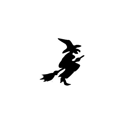 Witch Silhouette Decal (01) Size option will determine the size from the longest side Industry standard high performance calendared vinyl film Cut from Oracle 651 2.5 mil Outdoor durability is 7 years Glossy surface finish