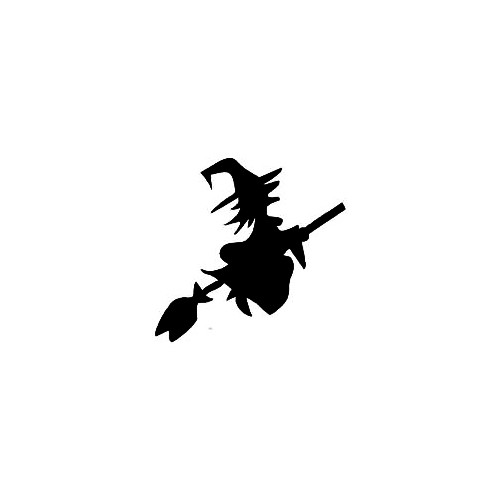 Witch Silhouette Decal (02) Size option will determine the size from the longest side Industry standard high performance calendared vinyl film Cut from Oracle 651 2.5 mil Outdoor durability is 7 years Glossy surface finish