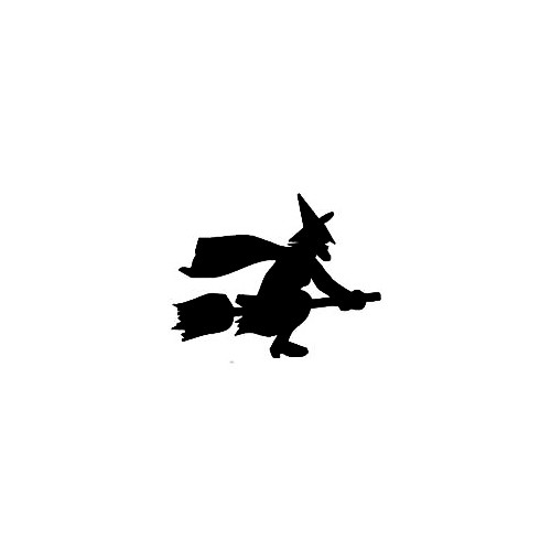 Witch Silhouette Decal (03) Size option will determine the size from the longest side Industry standard high performance calendared vinyl film Cut from Oracle 651 2.5 mil Outdoor durability is 7 years Glossy surface finish