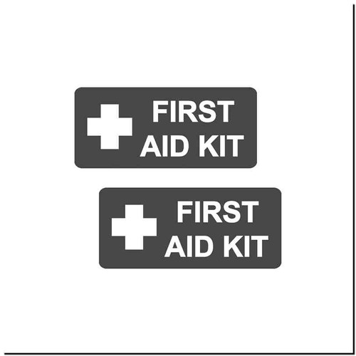 Aid Kit Vinyl Decal Sticker Size option will determine the size from the longest side Industry standard high performance calendared vinyl film Cut from Oracle 651 2.5 mil Outdoor durability is 7 years Glossy surface finish