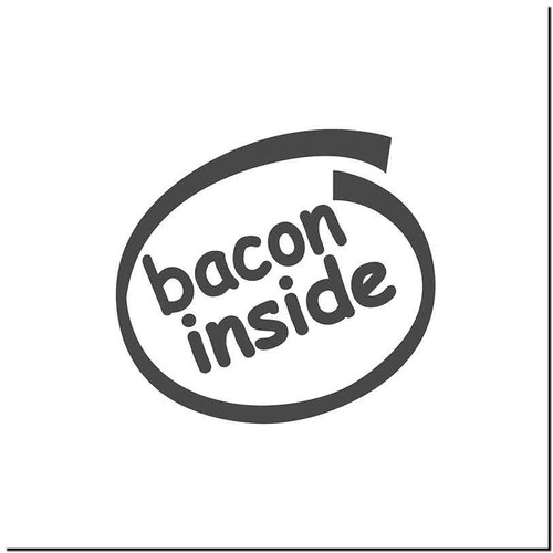 Bacon Inside Vinyl Decal Sticker Size option will determine the size from the longest side Industry standard high performance calendared vinyl film Cut from Oracle 651 2.5 mil Outdoor durability is 7 years Glossy surface finish