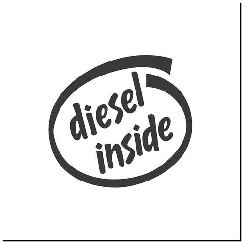 Diesel Inside Vinyl Decal Sticker Size option will determine the size from the longest side Industry standard high performance calendared vinyl film Cut from Oracle 651 2.5 mil Outdoor durability is 7 years Glossy surface finish