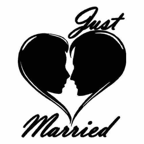 Saying Just Married  Vinyl Decal Sticker  Size option will determine the size from the longest side Industry standard high performance calendared vinyl film Cut from Oracle 651 2.5 mil Outdoor durability is 7 years Glossy surface finish