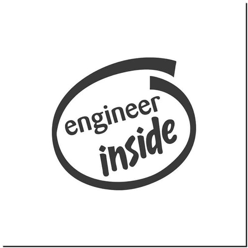 Engineer Inside Vinyl Decal Sticker Size option will determine the size from the longest side Industry standard high performance calendared vinyl film Cut from Oracle 651 2.5 mil Outdoor durability is 7 years Glossy surface finish