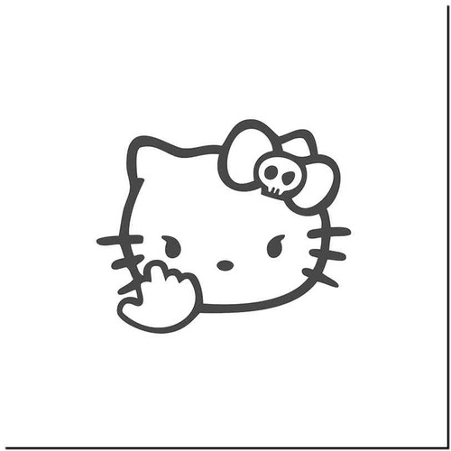 Hello Kitty Fck Vinyl Decal Sticker Size option will determine the size from the longest side Industry standard high performance calendared vinyl film Cut from Oracle 651 2.5 mil Outdoor durability is 7 years Glossy surface finish