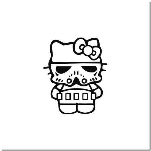 Hello Kitty Trooper Vinyl Decal Sticker Size option will determine the size from the longest side Industry standard high performance calendared vinyl film Cut from Oracle 651 2.5 mil Outdoor durability is 7 years Glossy surface finish