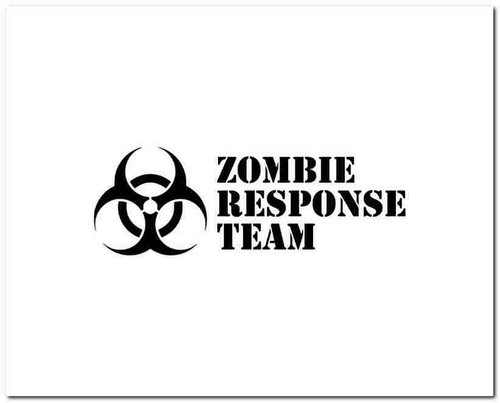 Zombie Response Team Vinyl Decal Sticker Size option will determine the size from the longest side Industry standard high performance calendared vinyl film Cut from Oracle 651 2.5 mil Outdoor durability is 7 years Glossy surface finish