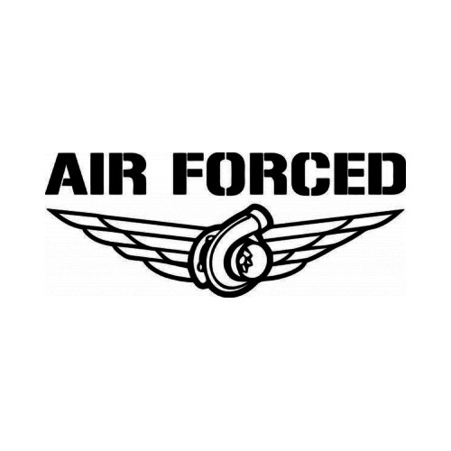 Air Forced Turbo JDM Japanese Vinyl Decal Sticker  Size option will determine the size from the longest side Industry standard high performance calendared vinyl film Cut from Oracle 651 2.5 mil Outdoor durability is 7 years Glossy surface finish
