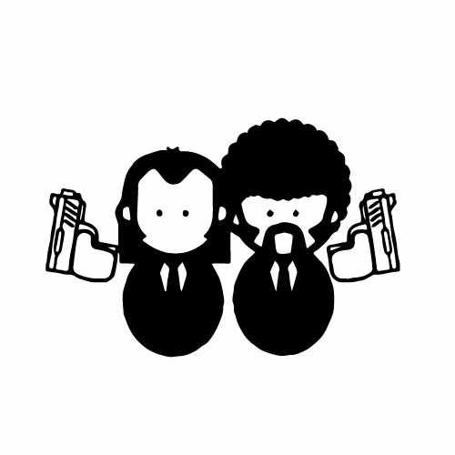 Pulp Fiction Vinyl Decal Sticker  Size option will determine the size from the longest side Industry standard high performance calendared vinyl film Cut from Oracle 651 2.5 mil Outdoor durability is 7 years Glossy surface finish