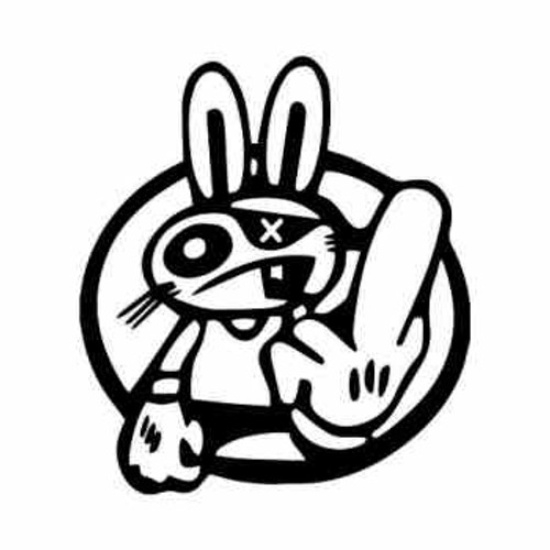 Drift Rabbit Flip Bird JDM Japanese Vinyl Decal Sticker  Size option will determine the size from the longest side Industry standard high performance calendared vinyl film Cut from Oracle 651 2.5 mil Outdoor durability is 7 years Glossy surface finish