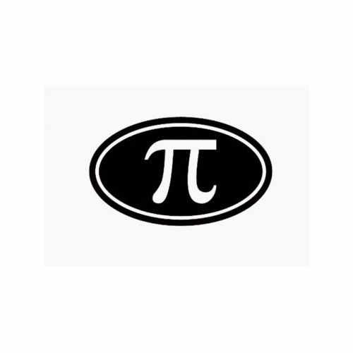 Pi Symbol Oval  Vinyl Decal Sticker  Size option will determine the size from the longest side Industry standard high performance calendared vinyl film Cut from Oracle 651 2.5 mil Outdoor durability is 7 years Glossy surface finish