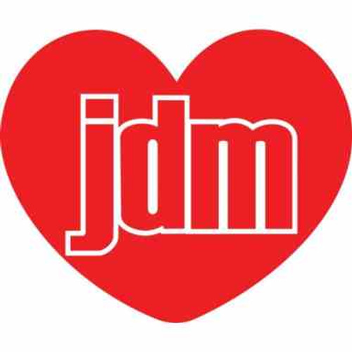 JDM Heart JDM Car Vinyl Sticker Decal  Size option will determine the size from the longest side Industry standard high performance calendared vinyl film Cut from Oracle 651 2.5 mil Outdoor durability is 7 years Glossy surface finish