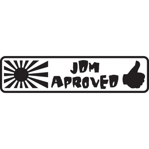 JDM Approved JDM Car Vinyl Sticker Decal  Size option will determine the size from the longest side Industry standard high performance calendared vinyl film Cut from Oracle 651 2.5 mil Outdoor durability is 7 years Glossy surface finish