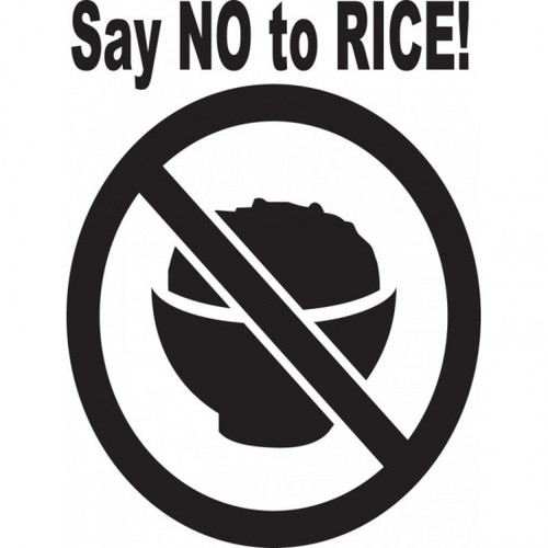 Say No To Rice! JDM Car Vinyl Sticker Decal  Size option will determine the size from the longest side Industry standard high performance calendared vinyl film Cut from Oracle 651 2.5 mil Outdoor durability is 7 years Glossy surface finish