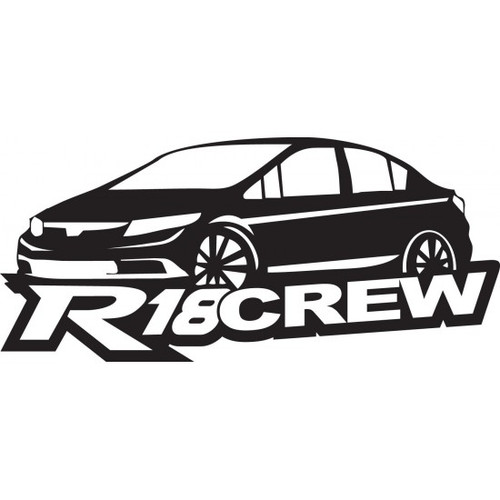 R16 Crew JDM Car Vinyl Sticker Decal  Size option will determine the size from the longest side Industry standard high performance calendared vinyl film Cut from Oracle 651 2.5 mil Outdoor durability is 7 years Glossy surface finish