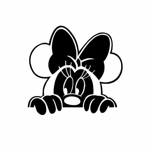 Minnie Mouse Peaking Over Vinyl Decal Sticker  Size option will determine the size from the longest side Industry standard high performance calendared vinyl film Cut from Oracle 651 2.5 mil Outdoor durability is 7 years Glossy surface finish
