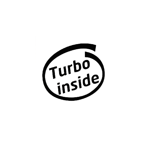 Turbo Inside Vinyl Decal  Size option will determine the size from the longest side Industry standard high performance calendared vinyl film Cut from Oracle 651 2.5 mil Outdoor durability is 7 years Glossy surface finish