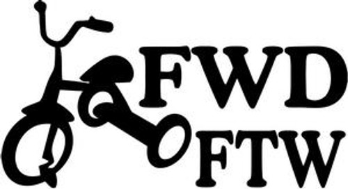 FWD FTW JDM Decal  Size option will determine the size from the longest side Industry standard high performance calendared vinyl film Cut from Oracle 651 2.5 mil Outdoor durability is 7 years Glossy surface finish