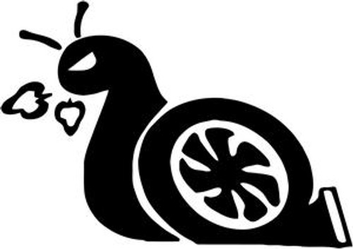 Turbo Snail JDM Decal  Size option will determine the size from the longest side Industry standard high performance calendared vinyl film Cut from Oracle 651 2.5 mil Outdoor durability is 7 years Glossy surface finish