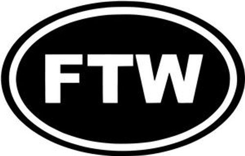 FTW For The Win JDM Decal  Size option will determine the size from the longest side Industry standard high performance calendared vinyl film Cut from Oracle 651 2.5 mil Outdoor durability is 7 years Glossy surface finish