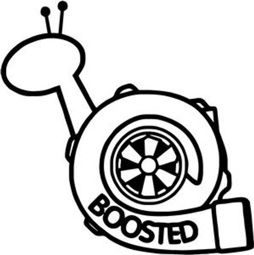 Boosted Turbo Snail JDM Decal  Size option will determine the size from the longest side Industry standard high performance calendared vinyl film Cut from Oracle 651 2.5 mil Outdoor durability is 7 years Glossy surface finish