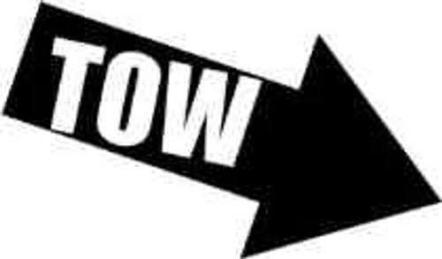 Tow Arrow JDM Decal  Style 2  Size option will determine the size from the longest side Industry standard high performance calendared vinyl film Cut from Oracle 651 2.5 mil Outdoor durability is 7 years Glossy surface finish