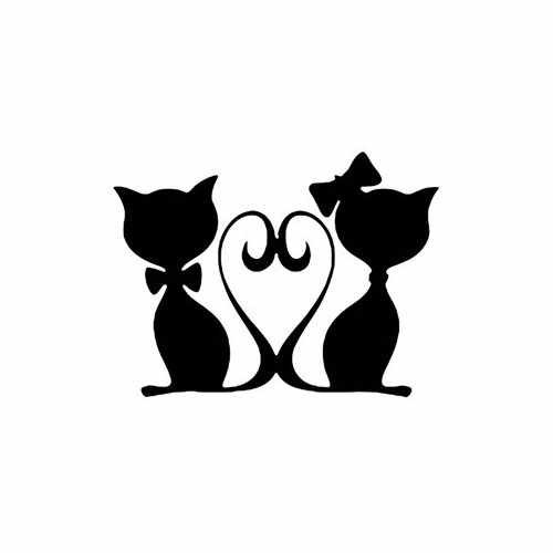 Kittens In Love  Vinyl Decal Sticker  Size option will determine the size from the longest side Industry standard high performance calendared vinyl film Cut from Oracle 651 2.5 mil Outdoor durability is 7 years Glossy surface finish