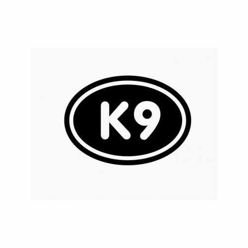 K9 Euro Oval  Vinyl Decal Sticker  Size option will determine the size from the longest side Industry standard high performance calendared vinyl film Cut from Oracle 651 2.5 mil Outdoor durability is 7 years Glossy surface finish