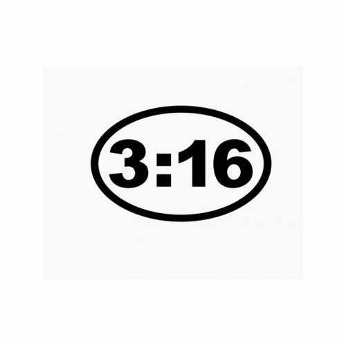 John 3 16 Christian Oval  Vinyl Decal Sticker  Size option will determine the size from the longest side Industry standard high performance calendared vinyl film Cut from Oracle 651 2.5 mil Outdoor durability is 7 years Glossy surface finish