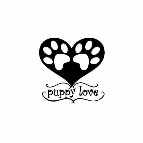 Imprint Paw Trail Puppy Love  Vinyl Decal Sticker  Size option will determine the size from the longest side Industry standard high performance calendared vinyl film Cut from Oracle 651 2.5 mil Outdoor durability is 7 years Glossy surface finish