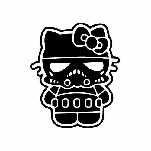 Hello Kitty Stormtrooper Vinyl Decal Sticker  Size option will determine the size from the longest side Industry standard high performance calendared vinyl film Cut from Oracle 651 2.5 mil Outdoor durability is 7 years Glossy surface finish