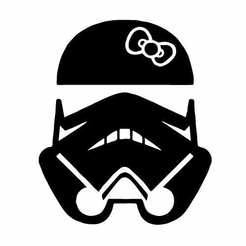 Hello Kitty Stormtrooper Mask Vinyl Decal Sticker  Size option will determine the size from the longest side Industry standard high performance calendared vinyl film Cut from Oracle 651 2.5 mil Outdoor durability is 7 years Glossy surface finish