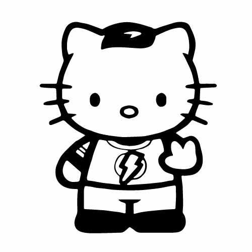 Hello Kitty Sheldon Cooper Vinyl Decal Sticker  Size option will determine the size from the longest side Industry standard high performance calendared vinyl film Cut from Oracle 651 2.5 mil Outdoor durability is 7 years Glossy surface finish