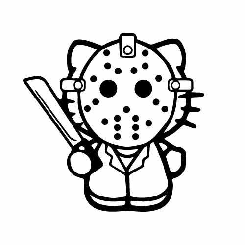 Hello Kitty Jason Vinyl Decal Sticker  Size option will determine the size from the longest side Industry standard high performance calendared vinyl film Cut from Oracle 651 2.5 mil Outdoor durability is 7 years Glossy surface finish