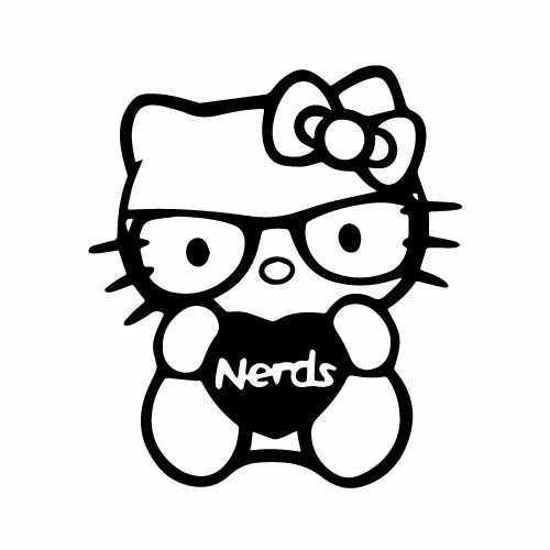 Hello Kitty I Love Nerds Vinyl Decal Sticker  Size option will determine the size from the longest side Industry standard high performance calendared vinyl film Cut from Oracle 651 2.5 mil Outdoor durability is 7 years Glossy surface finish