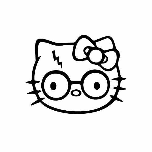 Hello Kitty Harry Potter Vinyl Decal Sticker  Size option will determine the size from the longest side Industry standard high performance calendared vinyl film Cut from Oracle 651 2.5 mil Outdoor durability is 7 years Glossy surface finish
