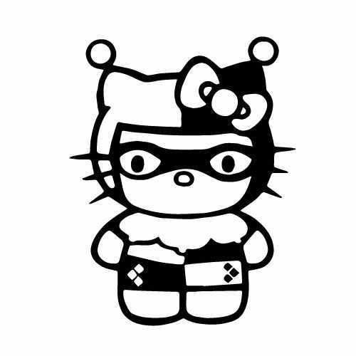 Hello Kitty Harley Quinn Vinyl Decal Sticker  Size option will determine the size from the longest side Industry standard high performance calendared vinyl film Cut from Oracle 651 2.5 mil Outdoor durability is 7 years Glossy surface finish