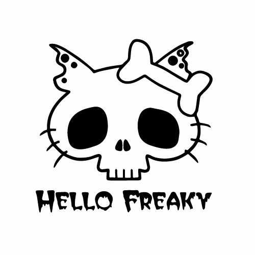 Hello Kitty Freaky Vinyl Decal Sticker  Size option will determine the size from the longest side Industry standard high performance calendared vinyl film Cut from Oracle 651 2.5 mil Outdoor durability is 7 years Glossy surface finish