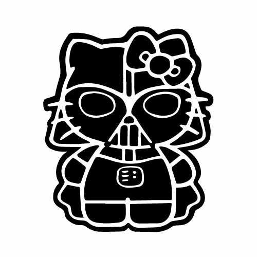 Hello Kitty Darth Vader Vinyl Decal Sticker  Size option will determine the size from the longest side Industry standard high performance calendared vinyl film Cut from Oracle 651 2.5 mil Outdoor durability is 7 years Glossy surface finish