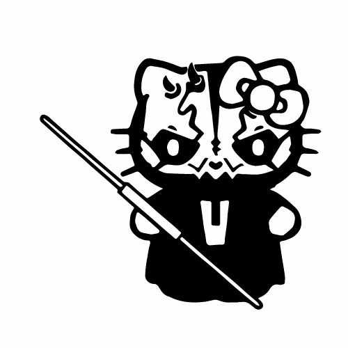 Hello Kitty Darth Maul Vinyl Decal Sticker  Size option will determine the size from the longest side Industry standard high performance calendared vinyl film Cut from Oracle 651 2.5 mil Outdoor durability is 7 years Glossy surface finish