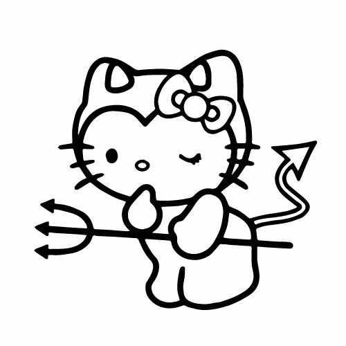 Hello Kitty Cute Devil Vinyl Decal Sticker  Size option will determine the size from the longest side Industry standard high performance calendared vinyl film Cut from Oracle 651 2.5 mil Outdoor durability is 7 years Glossy surface finish