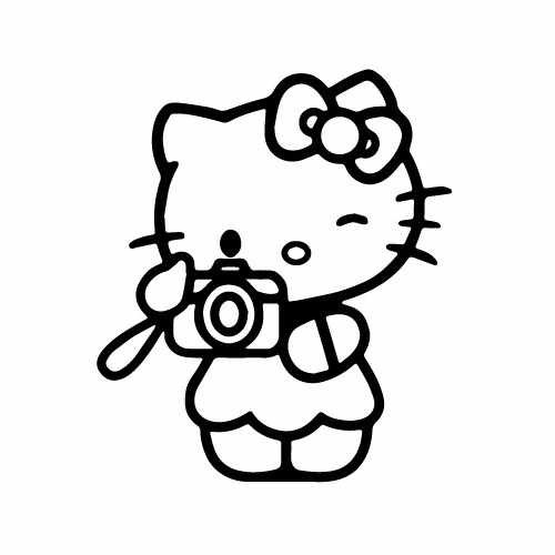 Hello Kitty Camera Vinyl Decal Sticker  Size option will determine the size from the longest side Industry standard high performance calendared vinyl film Cut from Oracle 651 2.5 mil Outdoor durability is 7 years Glossy surface finish