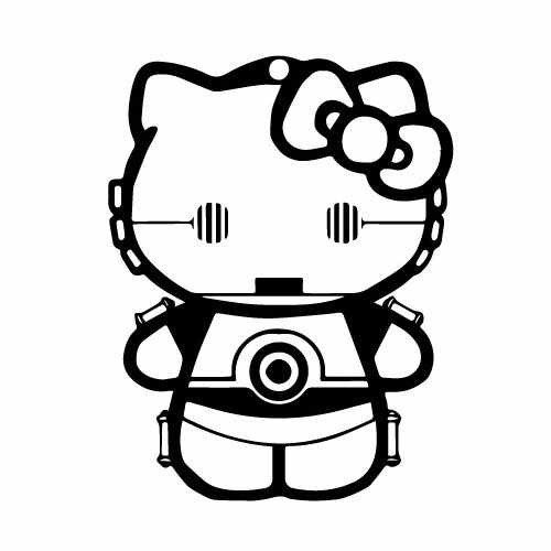 Hello Kitty C3Po Vinyl Decal Sticker  Size option will determine the size from the longest side Industry standard high performance calendared vinyl film Cut from Oracle 651 2.5 mil Outdoor durability is 7 years Glossy surface finish