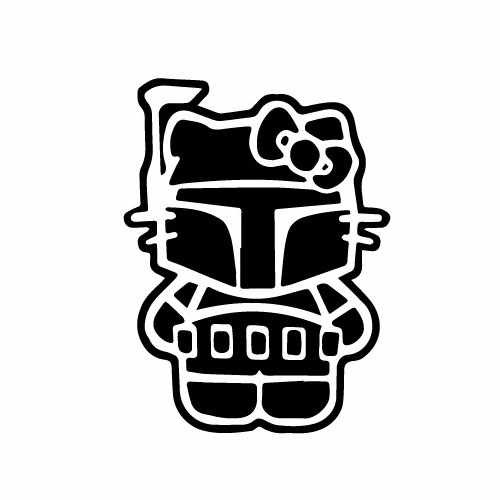 Hello Kitty Boba Fett Vinyl Decal Sticker  Size option will determine the size from the longest side Industry standard high performance calendared vinyl film Cut from Oracle 651 2.5 mil Outdoor durability is 7 years Glossy surface finish
